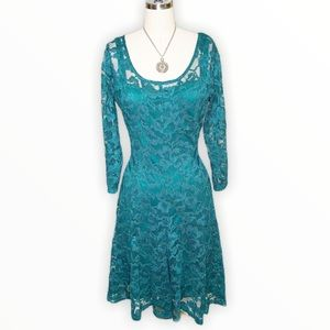 Leslie Fay Green Lace Fit and Flare Cocktail Dress